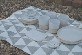Matt White Beakers, side plates, small sieves and board.